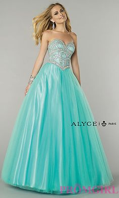 Floor Length Strapless Alyce Ball Gown at PromGirl.com #promgirl #dress #prom #preview