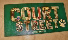 15x30 COURT STREET - Ohio University Original Mixed Media Painting