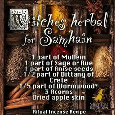 The Witches Blend for Samhain / Halloween  http://www.magicalrecipesonline.com/2015/10/witches-herbal-for-samhain.html #ladyloungedotnet