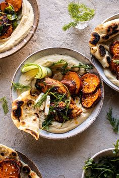Keeping things healthy and delicious with this Sheet Pan Chicken Shawarma with Sesame Sweet Potatoes and Hummus. Middle eastern seasoned chicken, roasted with sesame sweet potatoes, and served up bowl style with hummus, fresh naan, Clean Eating, Healthy Eating, Cooking Recipes, Healthy Recipes, Amish Recipes, Dutch Recipes, Bakery Recipes, Vegetarian Recipes, Half Baked Harvest