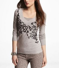 Don't want to think about cold weather but I do love this sweater :) SEQUIN LEOPARD V-NECK PULLOVER SWEATER at Express