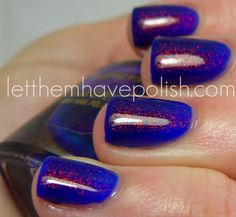 "Two coats of Revlon ""Royal"" topped with 1 coat of MaxFactor ""Fantasy Fire""!  Too pretty for mere words!!!"