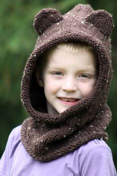 Baby Bear Hooded Cowl Balls to the Walls Knits, A collection of free one- and two- skein knitting patterns