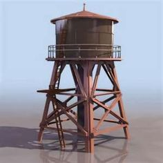 old fashioned water tower.you might find this beside a railroad station Westerns, Tower Of Power, Train Table, Water Collection, Water Storage, Model Train Layouts, Old Barns, Tiny House Design, Models