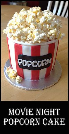A fun and easy cake for your party or movie night! - A fun and easy cake for your party or movie night! Unique Cakes, Creative Cakes, Beautiful Cakes, Amazing Cakes, Movie Cakes, Movie Theme Cake, Movie Party, Popcorn Cake, Fondant