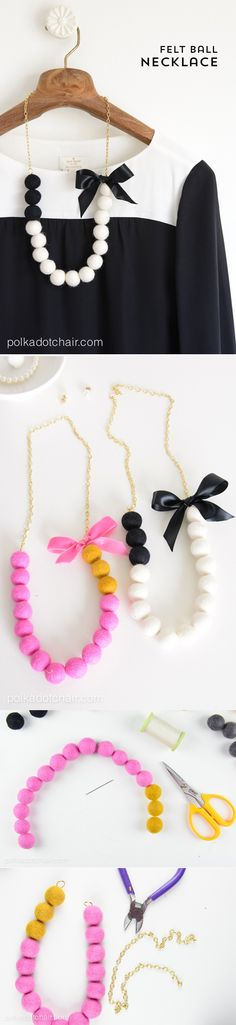 DIY Felt Ball Necklace Jewelry Tutorial; this would be a really cute statement necklace