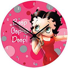Betty Boop™ Wooden Wall Clock  Bold and bright wall clock adds a bit of Boop flair to any room. Wood composite base, quartz movement.