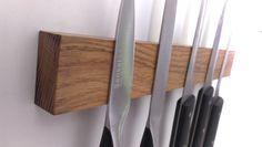 Magnetic Knife Rack, Oak Knife Holder, Wood Knife Holder, Wall Mounted Knife Holder, Wooden Wall Knife Organizer, Hardwood  Knife Holder by WOODINDECOR on Etsy https://www.etsy.com/uk/listing/230556019/magnetic-knife-rack-oak-knife-holder