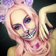 Cheshire Cat Halloween Costume, Cool Halloween Makeup, Halloween Looks, Halloween Ideas, Halloween Costumes, Halloween 2016, Halloween Stuff, Halloween Crafts, Cheshire Cat Makeup