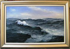 """This is a huge Ian Hansen original oil titled """"Bass Strait"""". This is a real Australian masterpiece. Ian Hansen has taken out one of the worlds top awards for marine Artists. In the Royal Australian Navy invited Ian to East Timor. Royal Australian Navy, Bass, Oil, The Originals, Water, Artist, Outdoor, Gripe Water, Outdoors"""