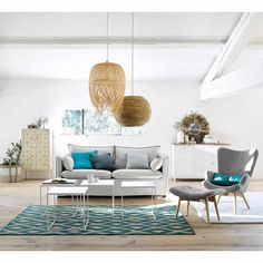 Great living room - gray - white - wood - blue - natural - rattan - seaside - Houses of . - Best Decoration ideas for the home Blue Rooms, Affordable Furniture, Living Room Grey, Home Decor Styles, Interior Design Inspiration, Living Room Designs, Home Accessories, Room Decor, House Styles
