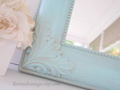 DECORATIVE ORNATE MIRRORS For Sale Unique Vintage French Blue Framed Mirror Baby Nursery Decor French Country Home Shabby Chic Decor. $72.00, via Etsy.