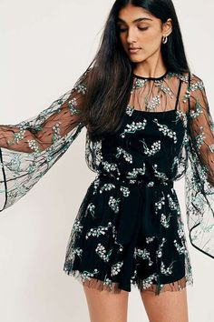 UO Jordana Embroidered Floral Mesh Playsuit | Urban Outfitters | Women's | Dresses #UOEurope #UrbanOutfittersEU
