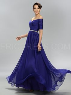Charming A-Line Off the Shoulder Pleats Evening Dress 2