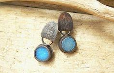 Sky Blue Druzy Rustic Copper Woman Stud Post Earrings Urban