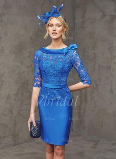 Abendkleider - $142.08 - Etui-Linie V-Ausschnitt Cowl Neck Knielang Satin Spitze Abendkleid mit Schleife(n) (0175086062)