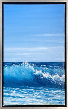 Zomers schilderij van de zee met blauwe lucht van Karen Boekholt In acrylverf, 50 x 30 cm Water Waves, Beach Jewelry, Lightning, Surfing, December 1st, Clouds, Canvas Paintings, Storms, Retro