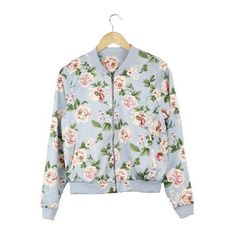 Mavis Floral Print Bomber Jacket (155 MYR) ❤ liked on Polyvore featuring outerwear, jackets, blouson jacket, bomber jacket, flight jacket, bomber style jacket and flower print jacket