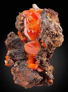 Crystal pride WOW Wulfenite!! Amazing specimen featuring a TWINNED Wulfenite blade on Limonite matrix!   This is one of the finest specimen of Red Cloud Wulfenite that I've seen in years and with the twinned crystal, definate