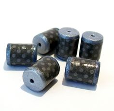 Silver and Black Polka Dot Barrel Beads -  Paper and Polymer Clay by BarbiesBest on Etsy