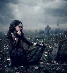 #Goth girl in cemetary