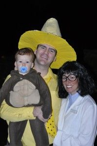 Diy family costume curious george man in the yellow hat professor curious george halloween costumes for the family solutioingenieria Choice Image
