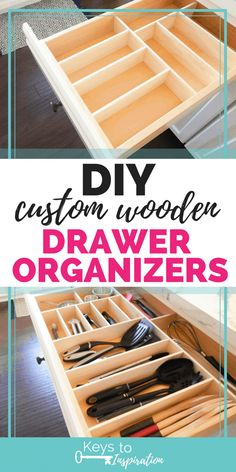 How To Make Custom Wooden Drawer Organizers For Your Home. Figure out How To Make This Easy Diy Project. Association Home Organization Declutter Decluttering Organizing Wooden Drawer Organizer, Diy Drawer Dividers, Kitchen Drawer Organization, Diy Kitchen Storage, Drawer Organisers, Kitchen Organization, Organizing Drawers, Kitchen Organizers, Organizing Tools