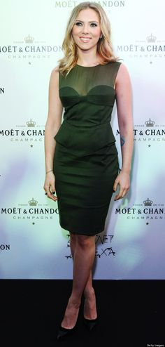 Scarlett Johansson in Army Green Emilio Pucci dress at Moet & Chandon in Moscow.