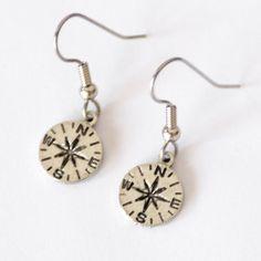 Compass Earrings, Graduation Gift, Traveler gift, Wanderlust, Geek Jewelry, Surgical Steel Ear Wires, Spring Break Accessory, Vacation Gift