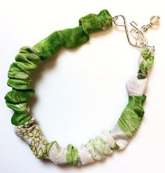 Recycled Sari Scrunchy Bracelet-Green Floral