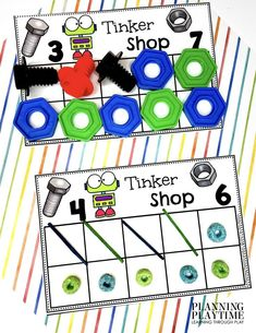 Number Recognition + Counting + Greater/Less than Comparison. - Robot Morning Tubs