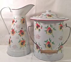 RARE Vintage French Enamelware Bath set Pitcher & Slop Jar CIRCA 1920 Excellent