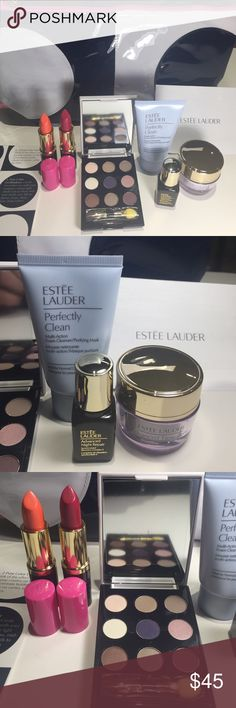 Estée Lauder Lisa perry beauty bundle of 7 pieces Brand new  100%authentic   Estee lauder Lisa perry gift set  2 -lipsticks Long lasting  Lisa perry eyeshadow palette  Perfectly clean multi action 1FL Daywear advanced multi protection Anti-ixidant .5Fl Advanced night repair. 24Fl Makeup bag Estee Lauder Makeup Eyeshadow