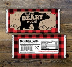Baby Candy Bar Wrapper  lumberjack bear   Party by LyonsPrints