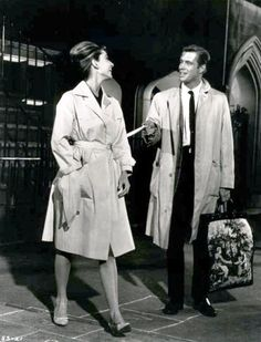 Audrey e George Peppard no set de Breakfast at Tiffany's, 1960