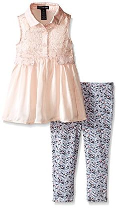 Calvin Klein Little Girls Satin and Sequined Lace Tunic with Printed Leggings Multi 4 -- To view further for this item, visit the image link.Note:It is affiliate link to Amazon.