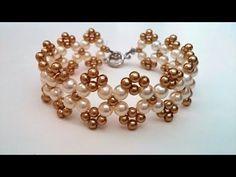 Easy beaded bracelet pattern. How to make bracelet using 2 sizes of pearl beads - YouTube