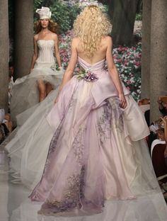 "Back of ""Odette"" strapless long white wedding dress with lilac purple skirt & flowers from Atelier Aimee. LOVE THIS!!!!! <3"