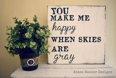 "Aimee Weaver Designs — Handpainted Canvas ""You make me happy"" 12x12"