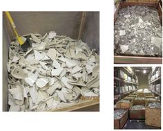 Fabulous cradle-to-cradle story from Crossville: Harvested Porcelain from the JCK Building Ready for Recycling