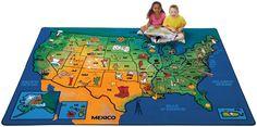 CK-2015 USA Learn & Play Carpet, 6' x 9' Rectangle