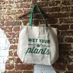 "West Elm Market tote bag - Wet Your Plants New, never used. Perfect for a day at the Farmers Market! 100% cotton canvas. 18""w x 6""d x 16""h. I'd keep this, but I already have all of the other designs  West Elm Bags Totes"