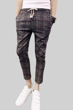 Plaid Tie-Front Skinny Pants