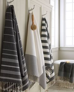 "These towels are bigger than my Bath Sheets - Black and White ""Fouta"" Bath Towels by Scents and Feel at Horchow."