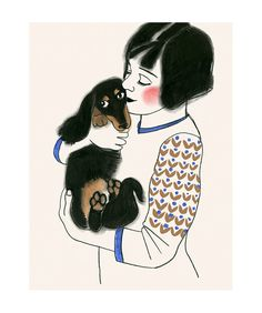 Dachshund dog art print  sausage dog art Doxie by matouenpeluche
