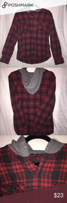 Red button down flannel with hoodie for men Red and dark grey flannel with grey hoodie. Size medium for men Shirts Casual Button Down Shirts