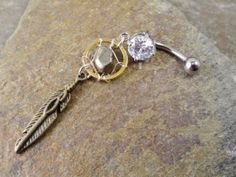 Pyrite Dream Catcher Belly Button Jewelry Ring by MidnightsMojo, $18.00