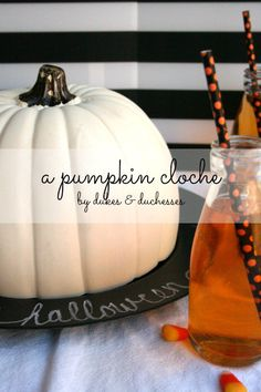 a pumpkin cloche for halloween entertaining
