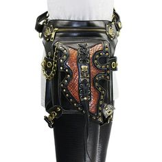 Black PU Leather Rivet Steampunk Leg Holster Waist <font><b>Bag</b></font> <font><b>Gothic</b></font> Shoulder <font><b>Messenger</b></font> <font><b>Bags</b></font> Punk Rock Corsets Outfits Accessories Thigh Bag, Leg Thigh, Steampunk, Leather Rivets, Casual Bags, Leather Crossbody, Skulls, Thighs, Motorcycles