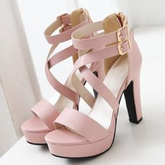 Trendy Double Buckle and Cross Straps Design Sandals For Women - Pink 39 Mobile - - Cute Shoes Heels, Fancy Shoes, Pretty Shoes, Pink Prom Shoes, Kawaii Shoes, Fashion Heels, Emo Fashion, Girls Shoes, High Heels For Girls